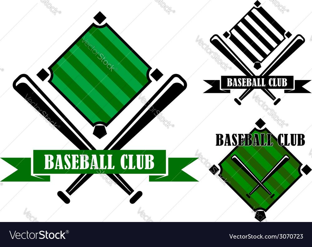 Baseball club emblems or badges vector image