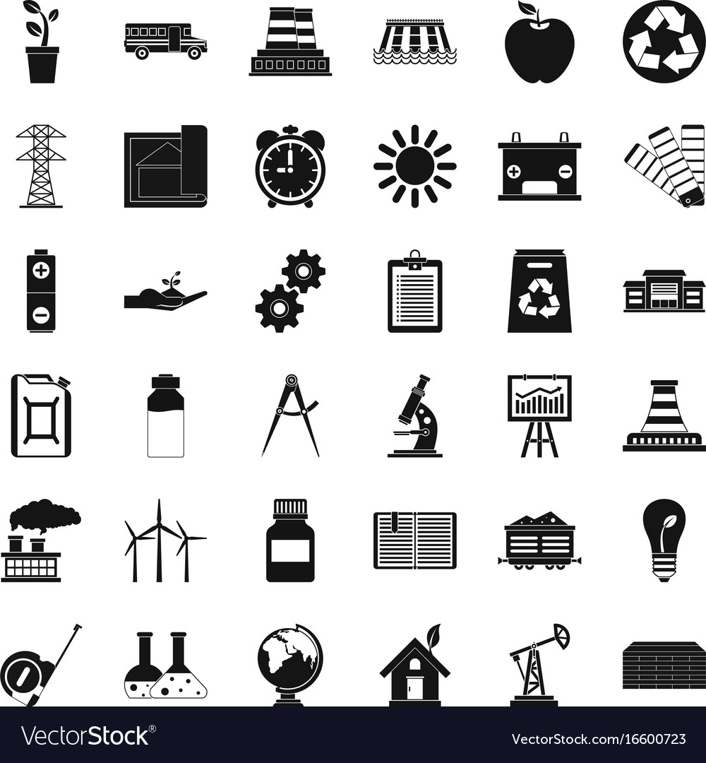 Big company icons set simple style