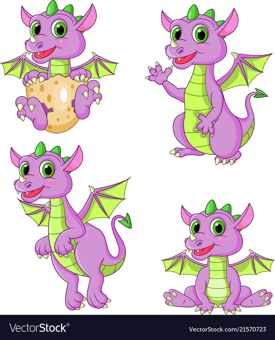 Cartoon dragons collection set