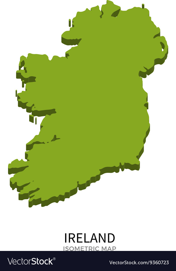 Detailed Map Of Ireland Vector.Isometric Map Of Ireland Detailed Royalty Free Vector Image