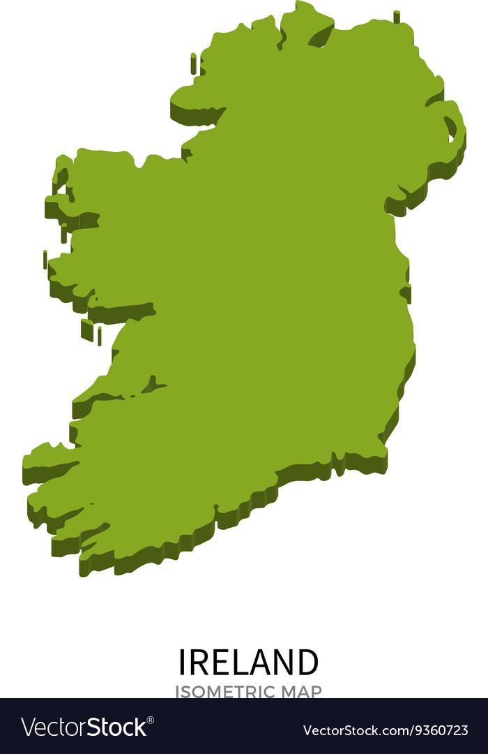 Isometric map of Ireland detailed vector image