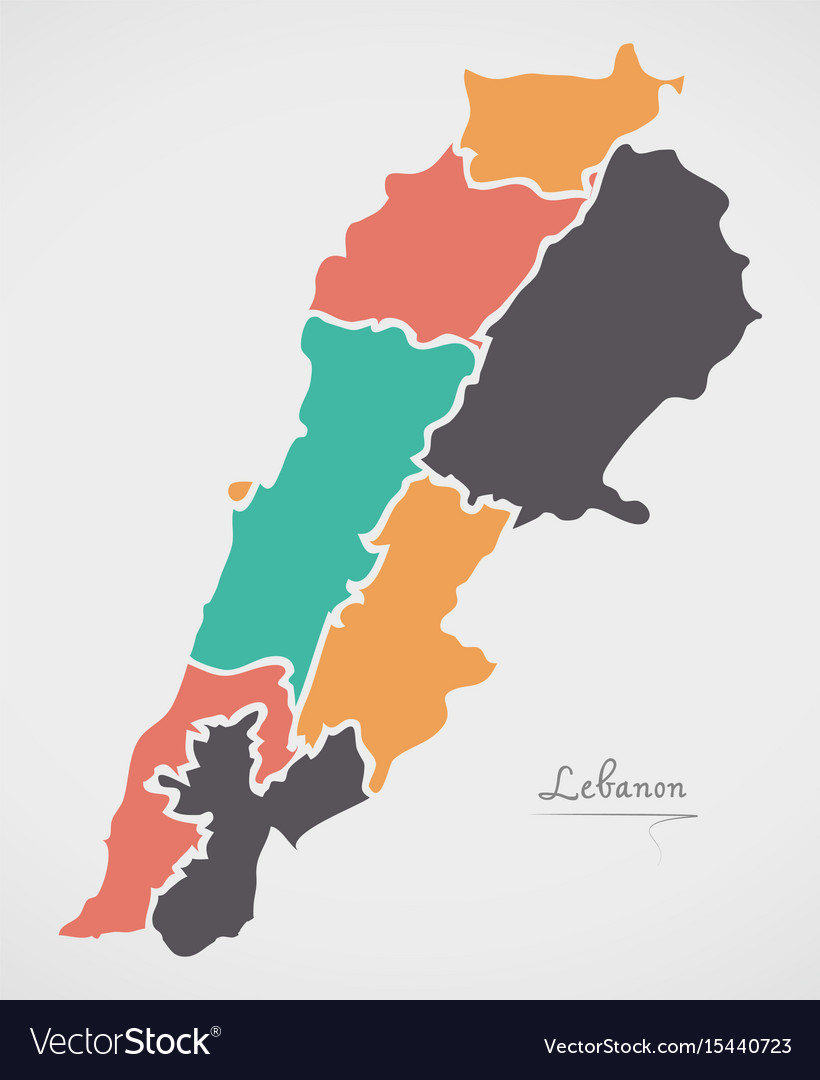 Lebanon Map With States And Modern Round Shapes