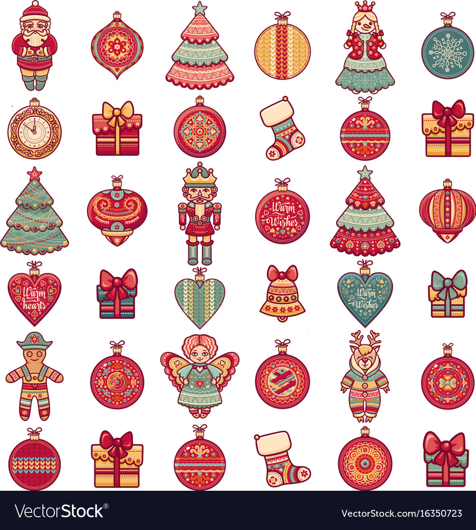 pattern with christmas toys icons set vector image - Sign Up For Free Christmas Toys