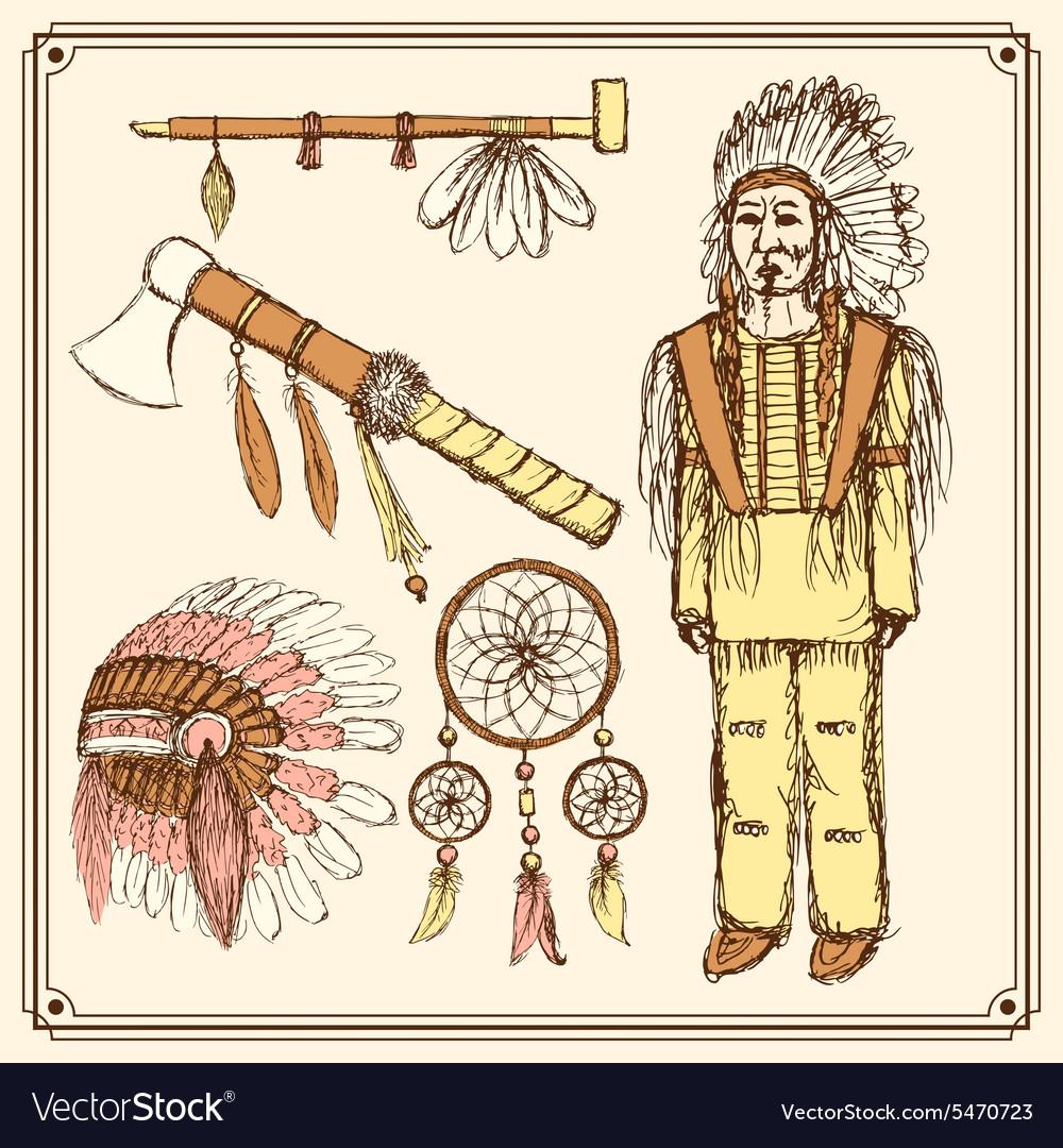 Sketch native american set in vintage style vector image