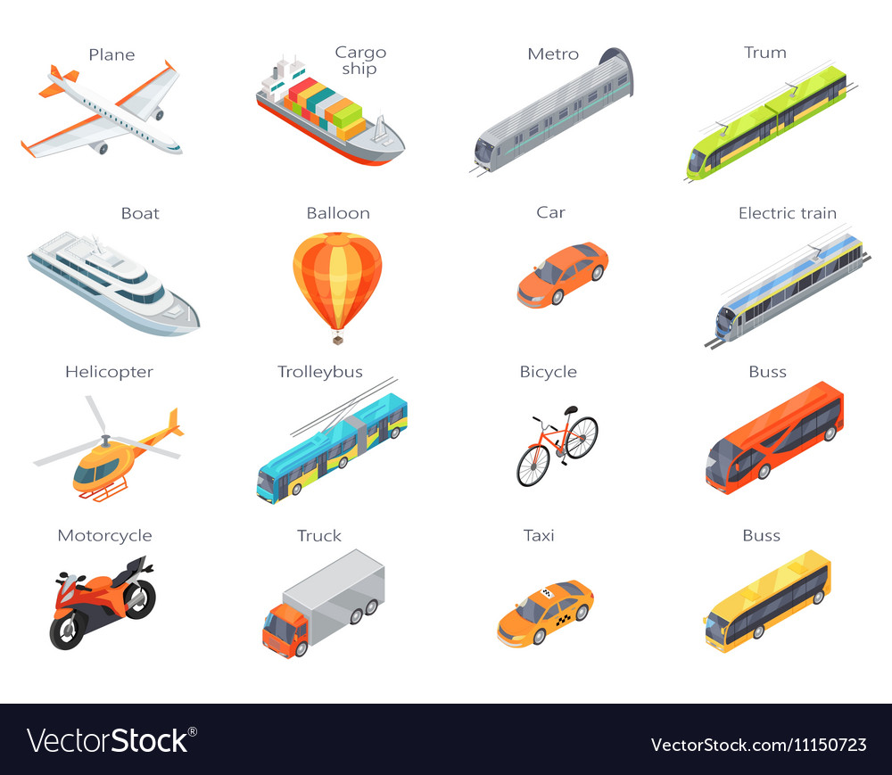 Transport Icons in Isometric Projection