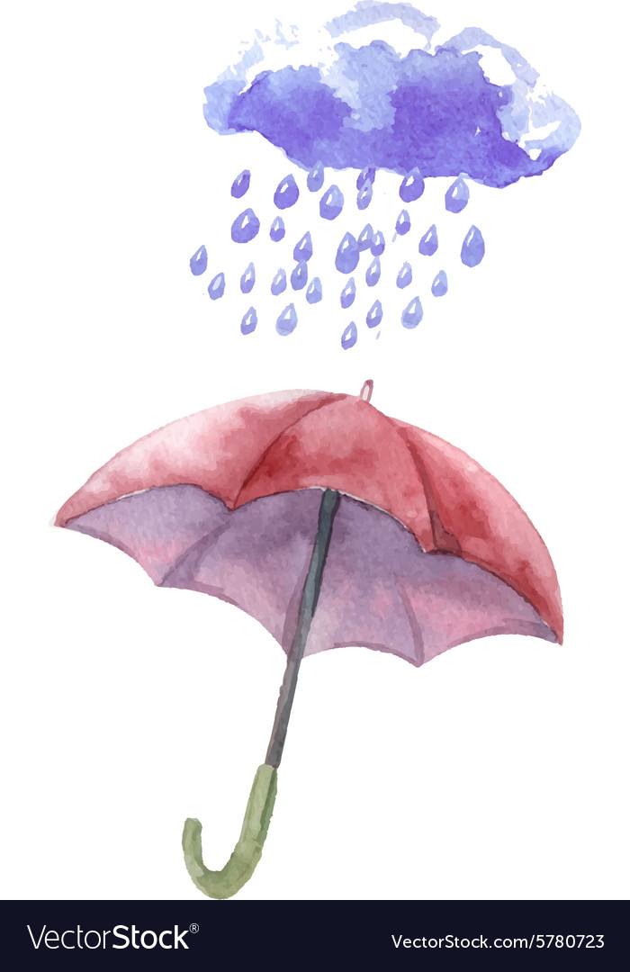 Watercolor set of umbrellas cloud heavy rain