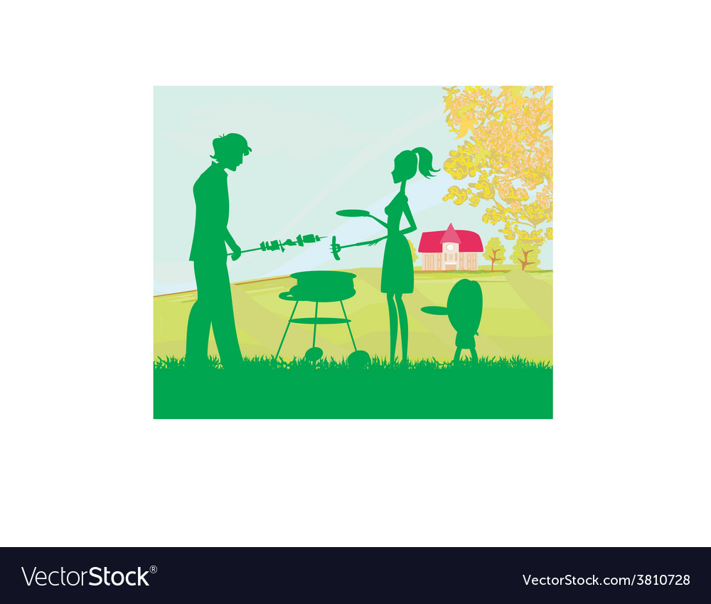 A of a family having a picnic in a park