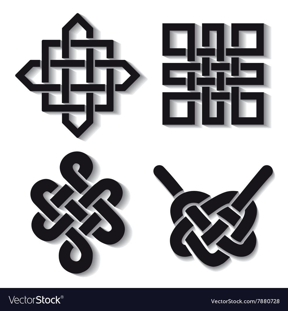 Auspicious Endless Knots Setbuddhist Symbolblack Vector Image