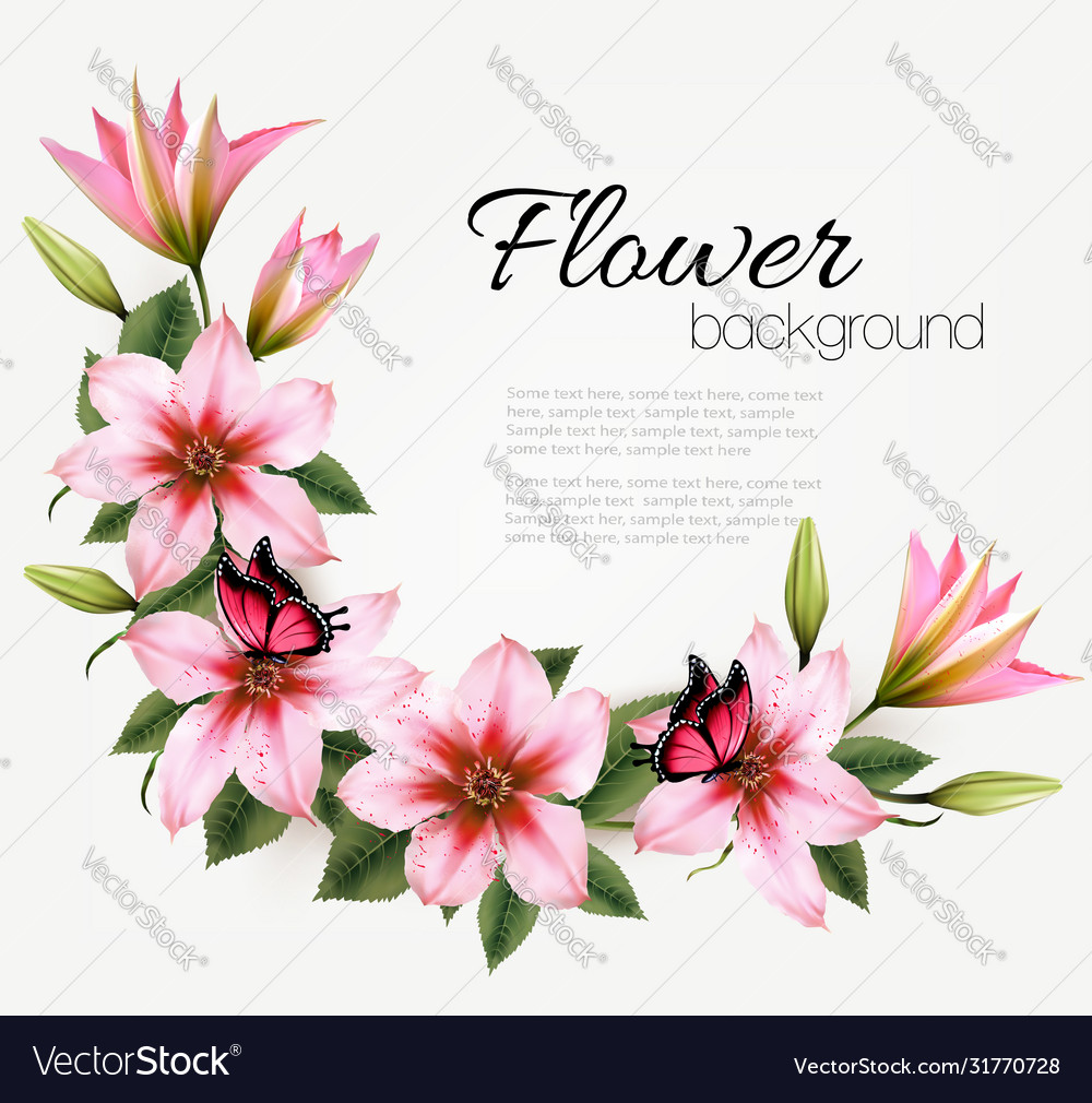 Beautiful nature flower background with a pink