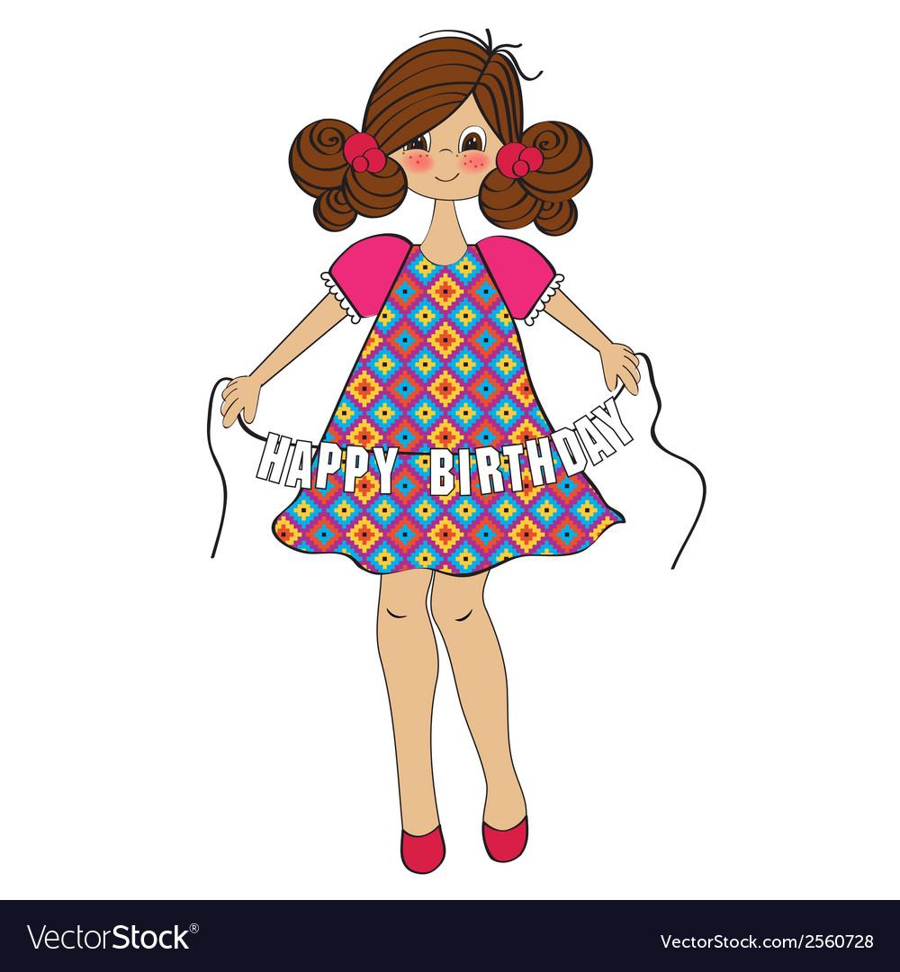 Cute Little Girl Wishing You Happy Birthday Vector Image