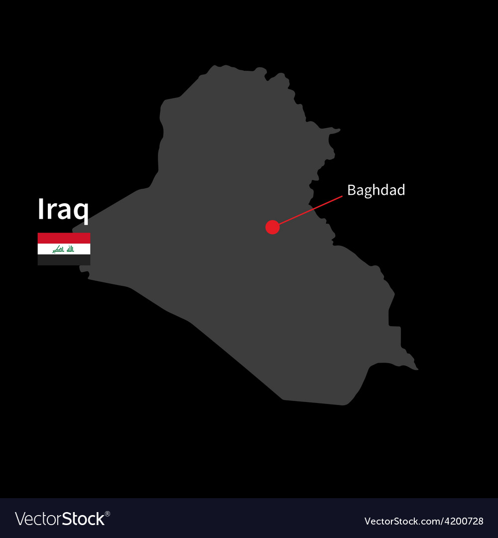 detailed map of iraq and capital city baghdad with vector image