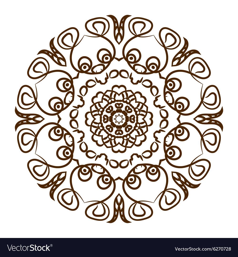 Hand drawn henna tattoo mandala lace