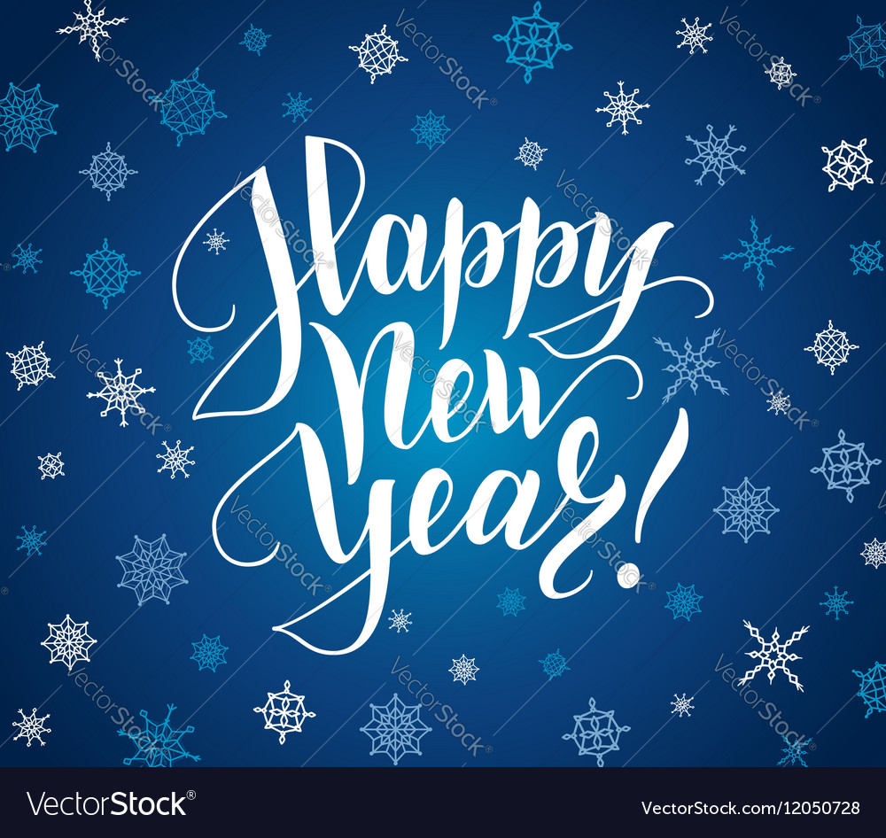 Happy new year card Lettering over background