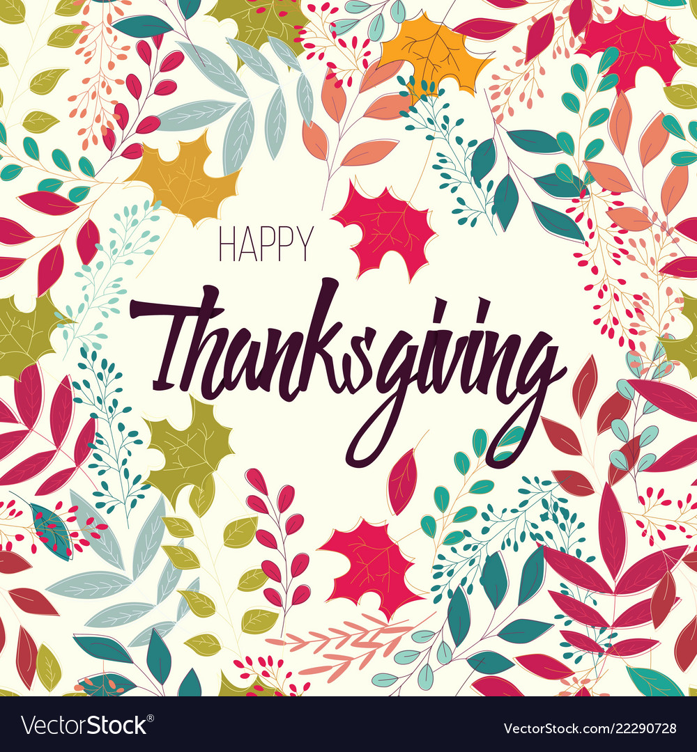 Happy thanksgiving day card with flowers