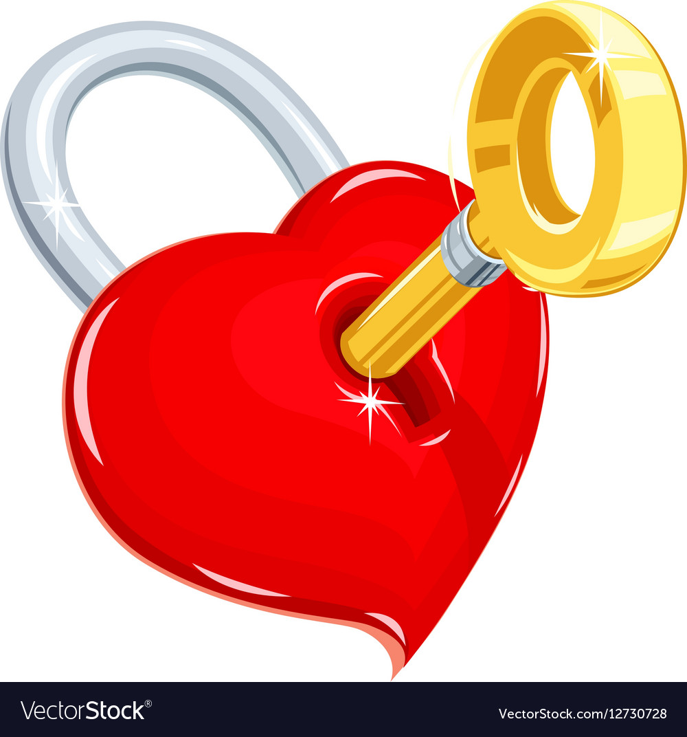 Heart And Key Symbol Love For Royalty Free Vector Image
