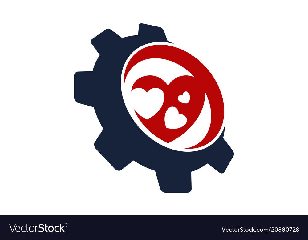 Heart gear logo design template