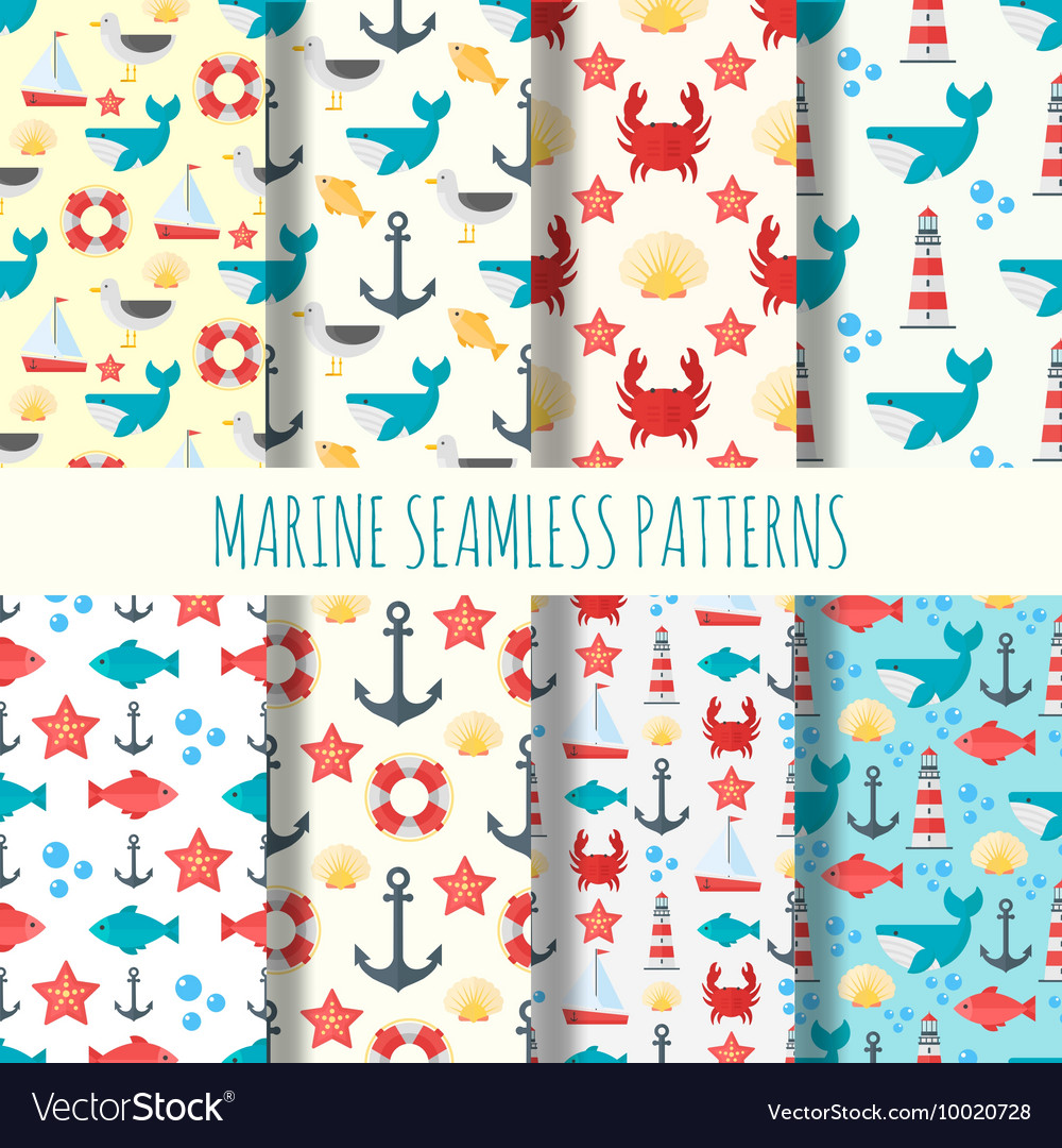Marine seamless pattern set