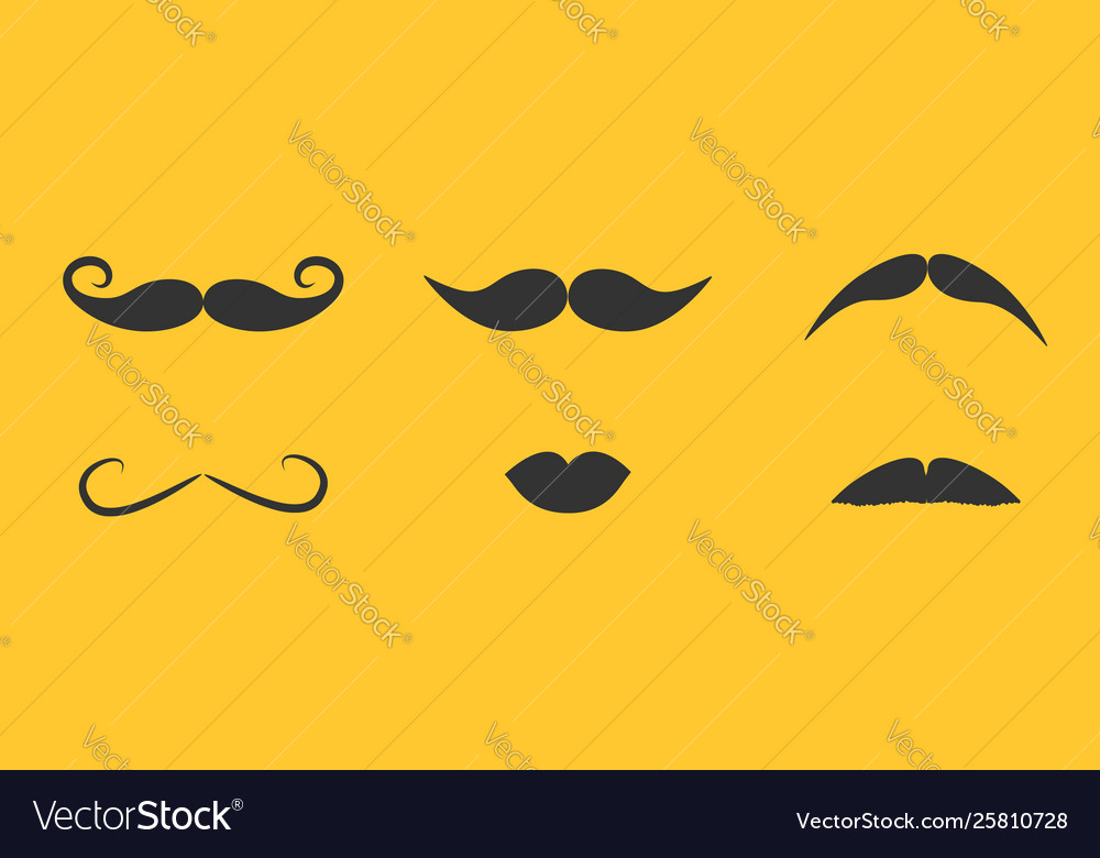 Mustaches and lips icon set line moustaches hair