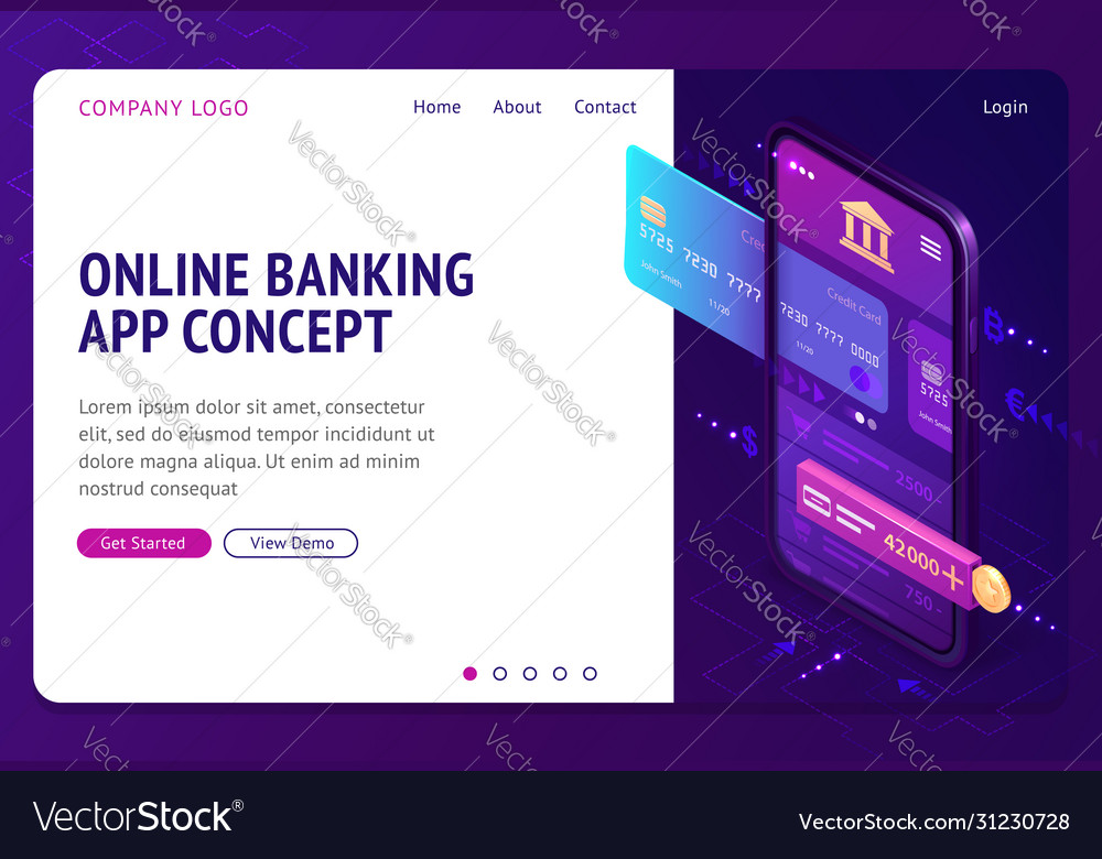 Online banking app isometric landing page banner
