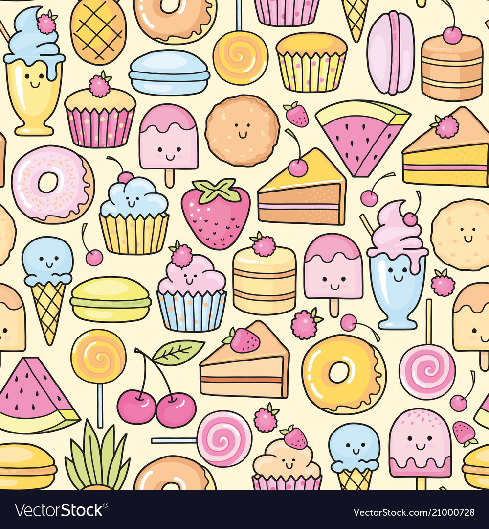 Seamless background of sweet and dessert doodle