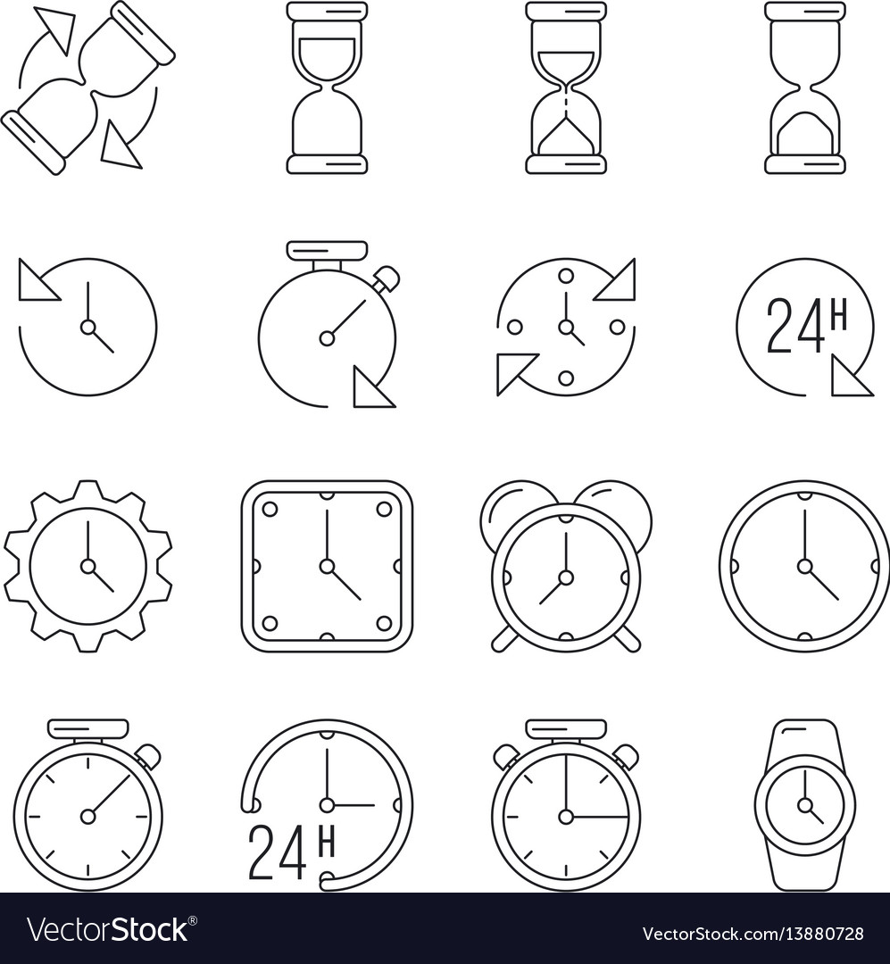 Time management sand clock 24 hours thin line