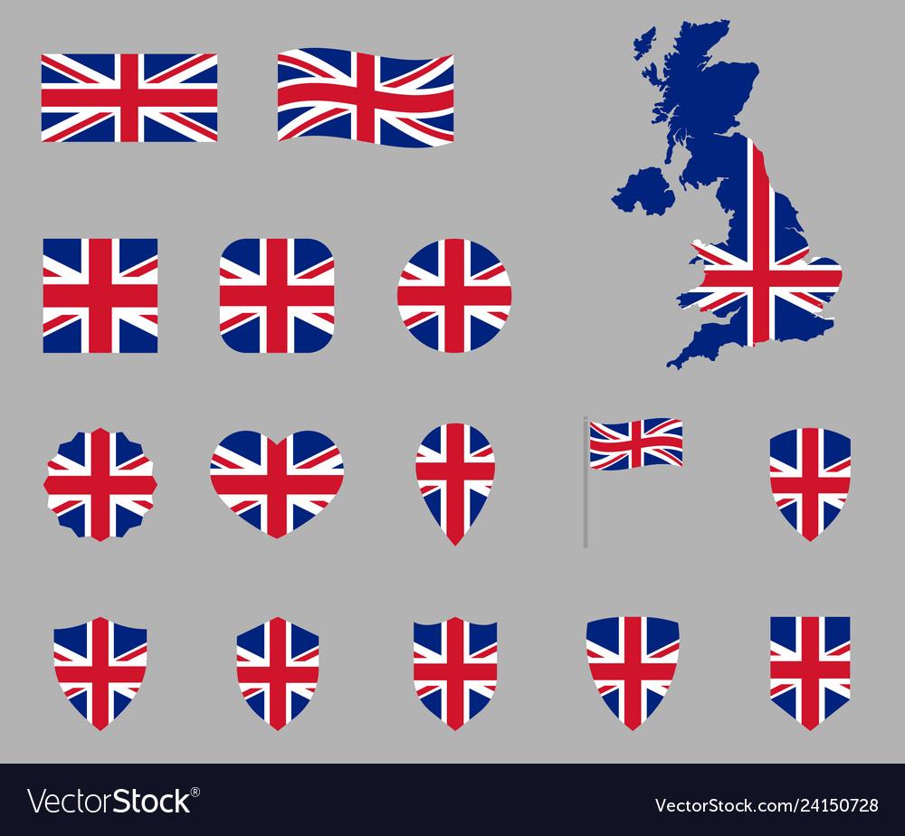 Uk flag icon set british national flag icons