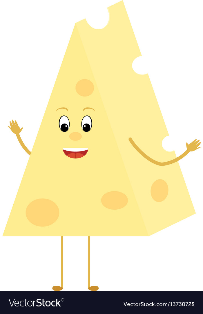 Yellow cheese triangle cartoon slice character