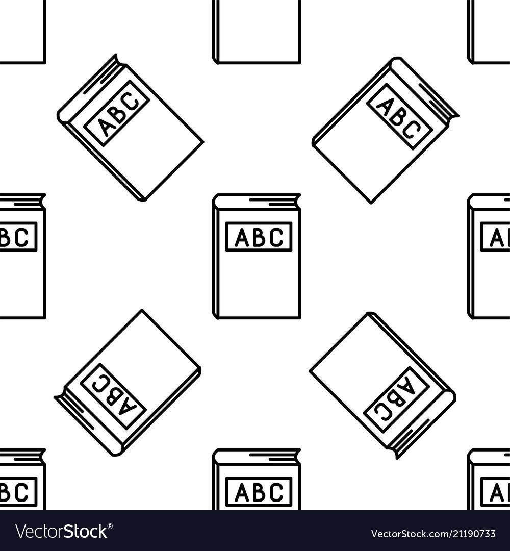 Abc book line icon seamless pattern