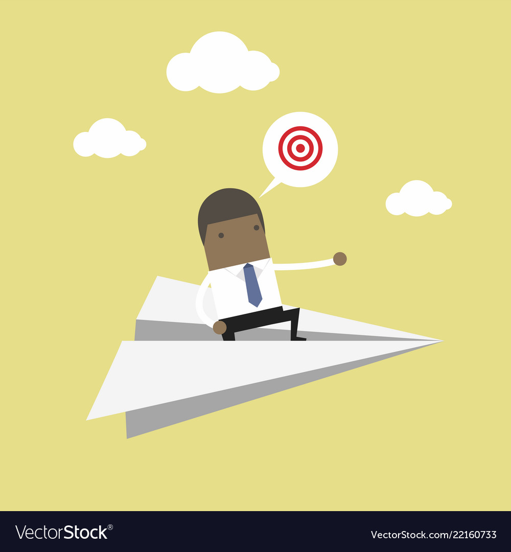 African businessman flying on paper plane