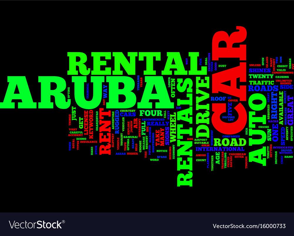 Aruba auto rentals text background word cloud
