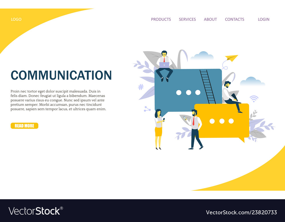 Communication website landing page design