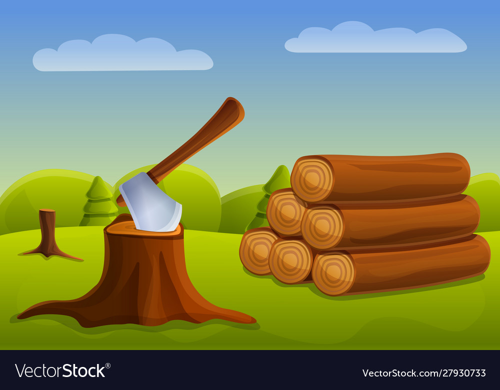 Cutting Down Forest Concept Banner Cartoon Style Vector Image Lumberjack finds strange tree rings. vectorstock