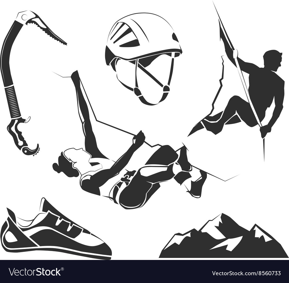 Elements for climbing trekking hiking vector image