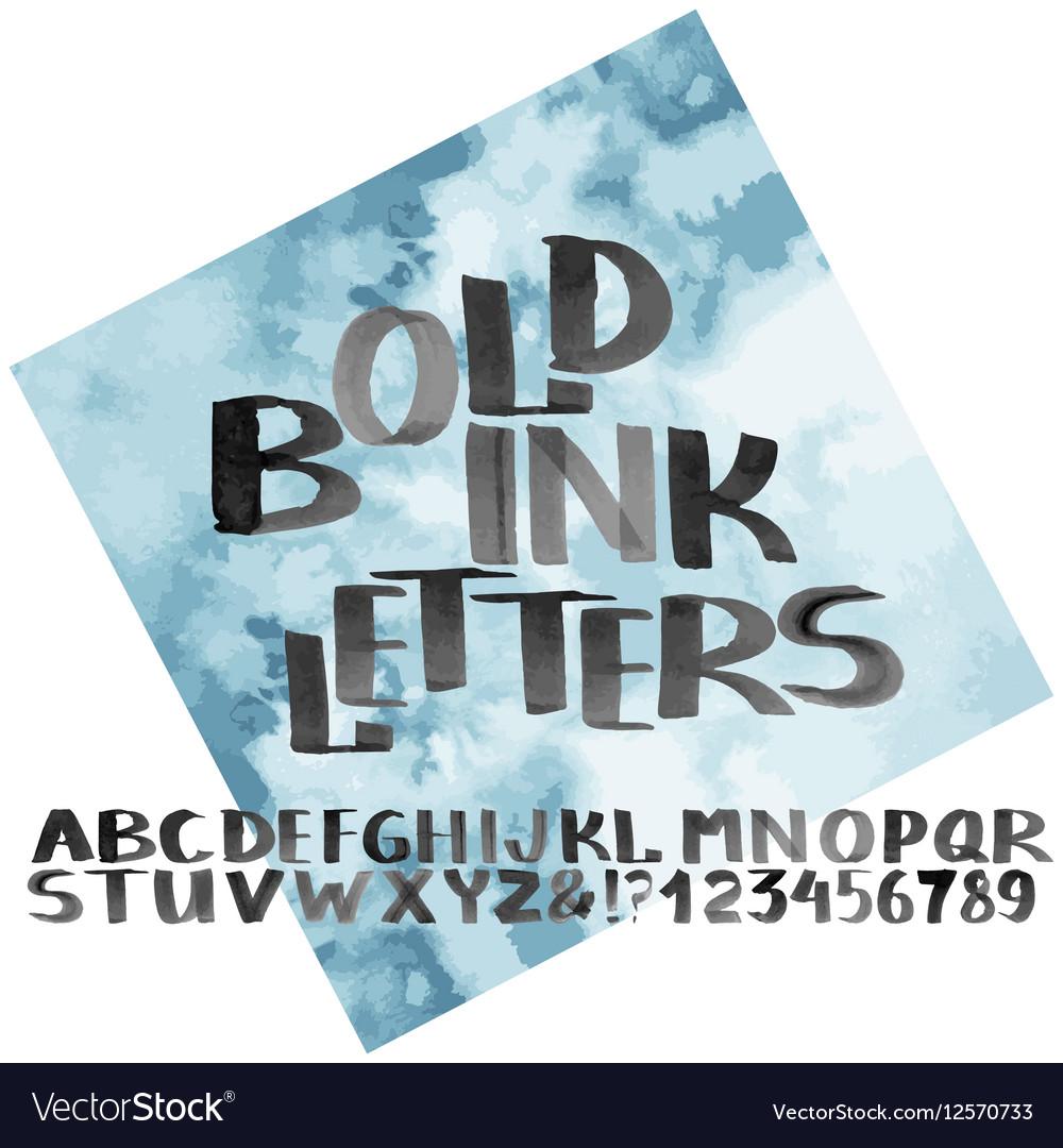 Hand drawn bold ink alphabet