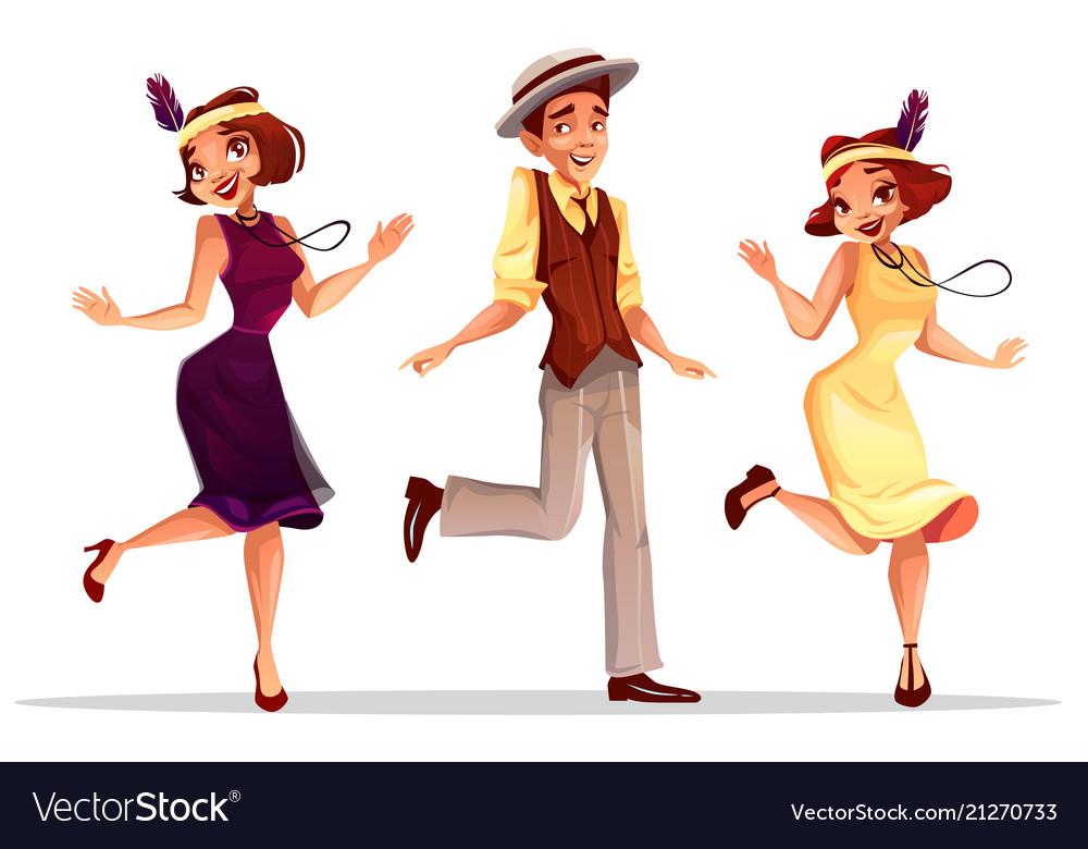 Jazz dancers man and women
