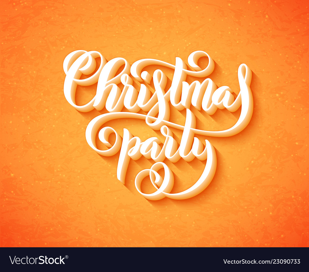Merry christmas party poster with hand-drawn