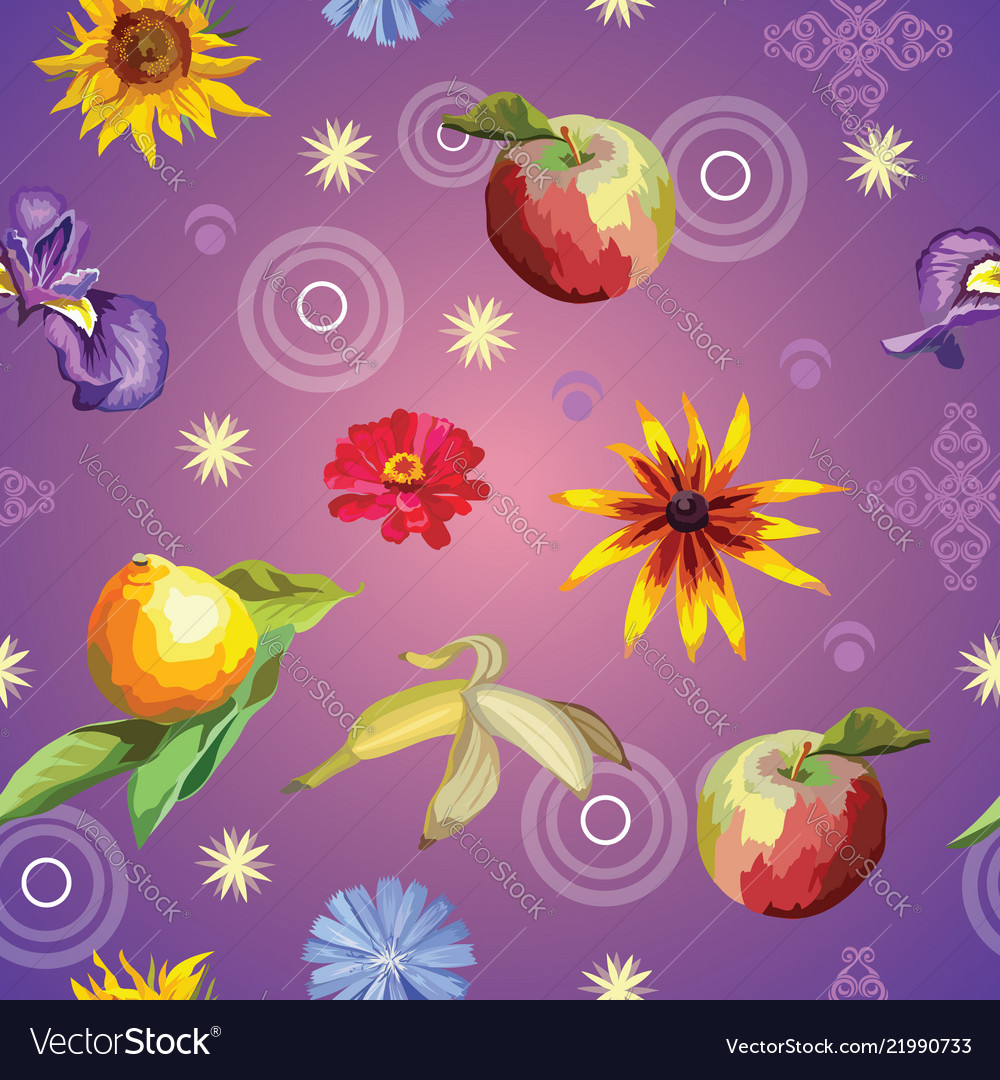 Seamless pattern with flowers and fruits