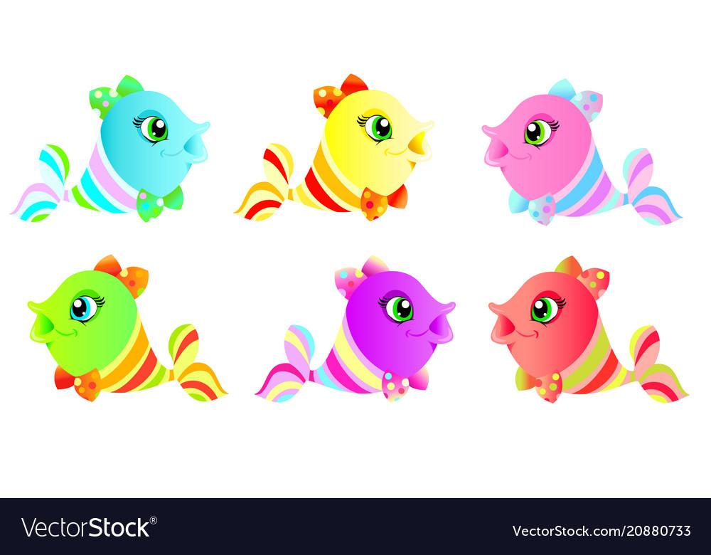 Set of cute colorful fish