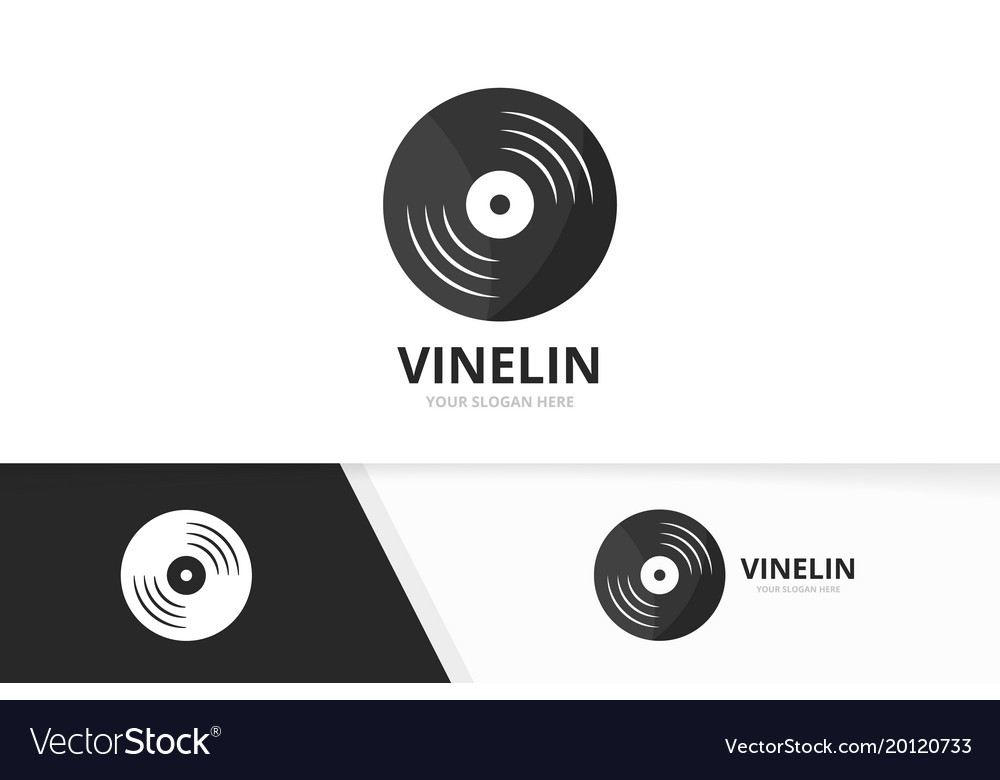 Vinyl logo combination record symbol or
