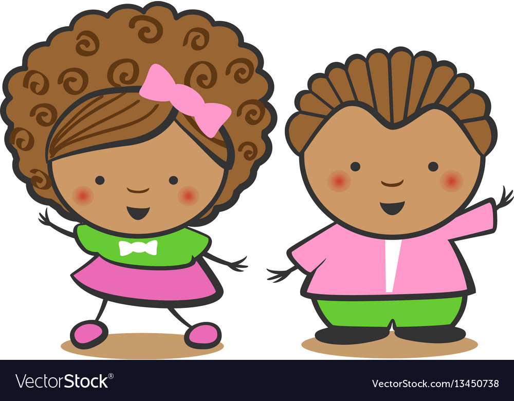 African american children black boy and a black vector image