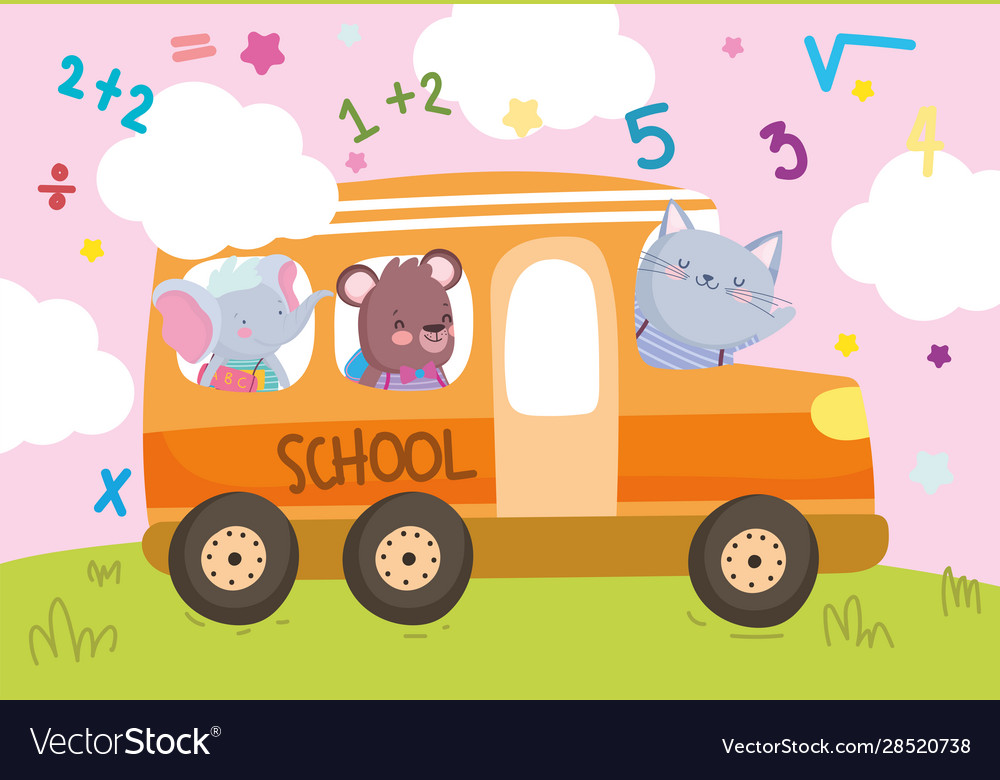 Back to school cute animals in bus transport