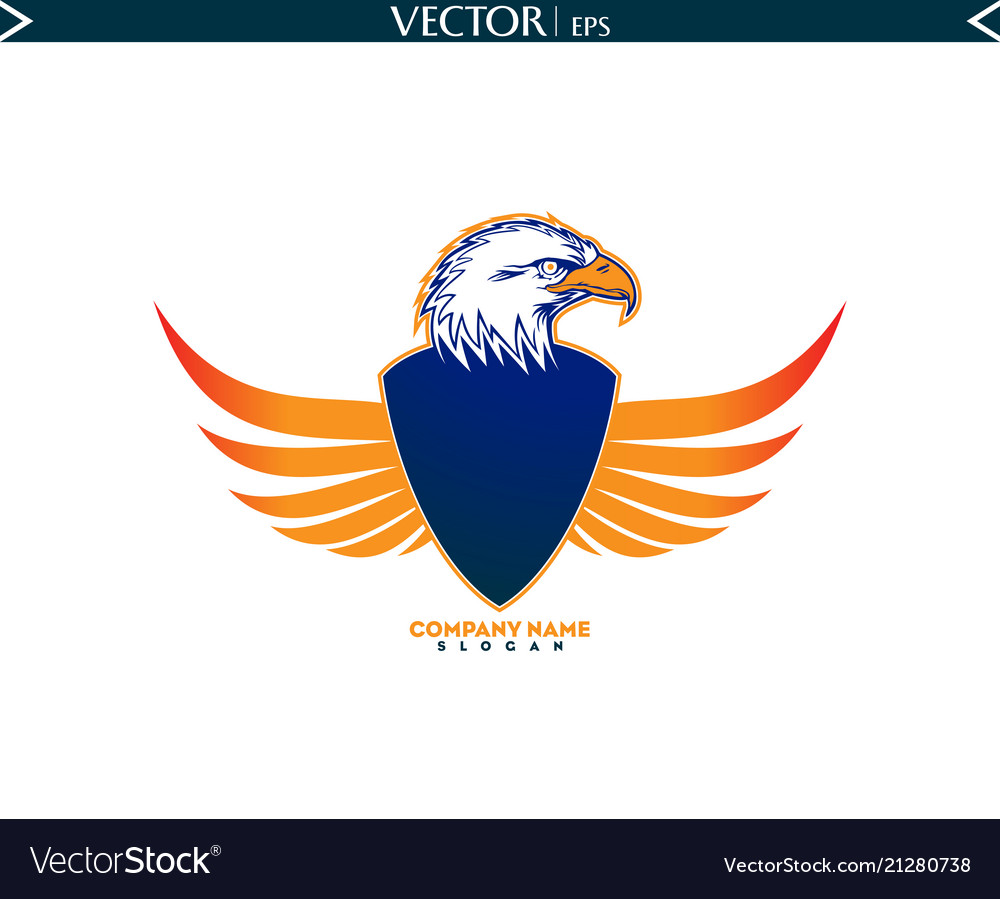 Bald eagle with shield wings logo