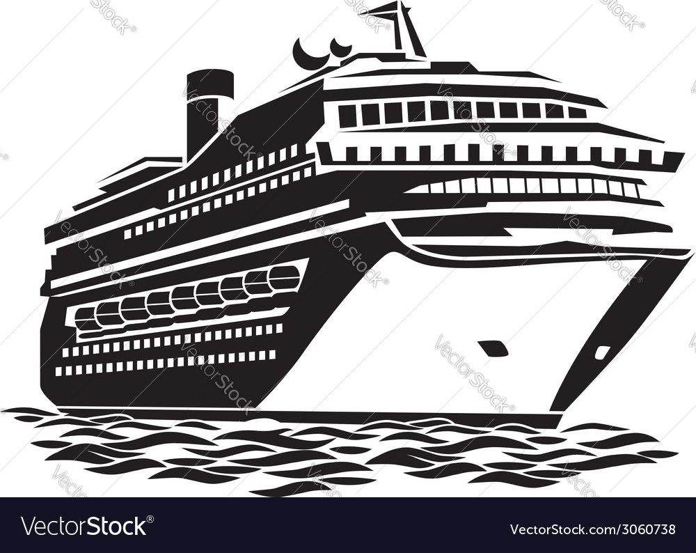 Big cruise liner vector image