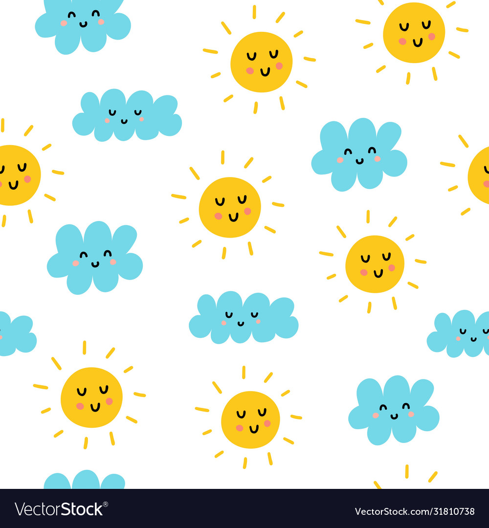 Cute sun and clouds seamless pattern