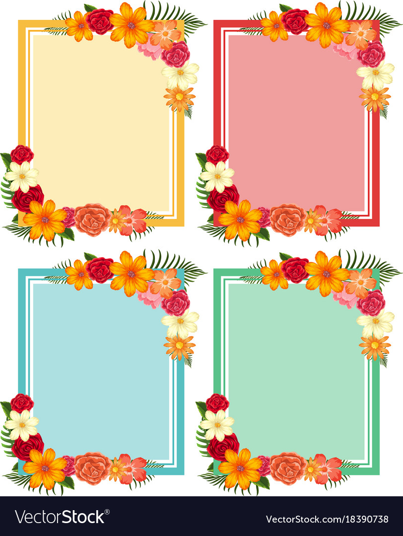 Four frames with colorful flowers Royalty Free Vector Image
