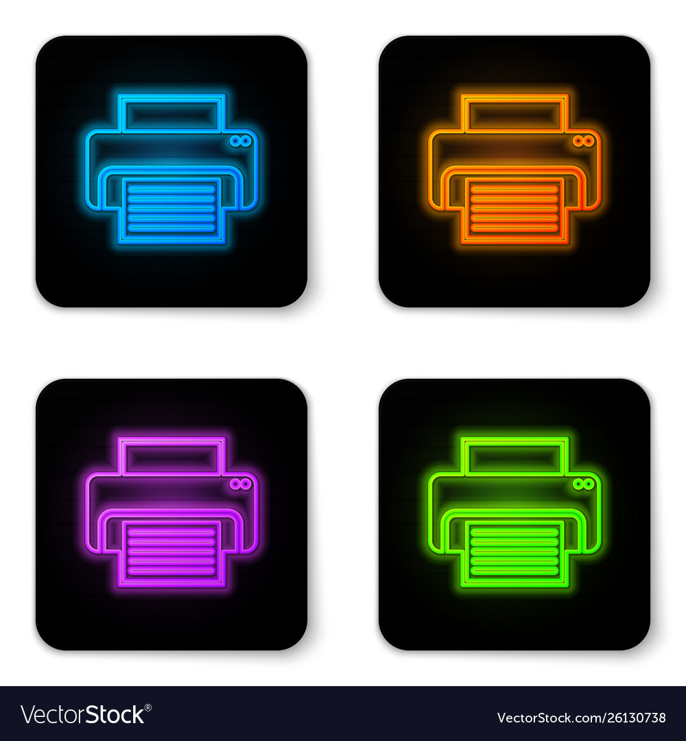 Glowing neon printer icon isolated on white