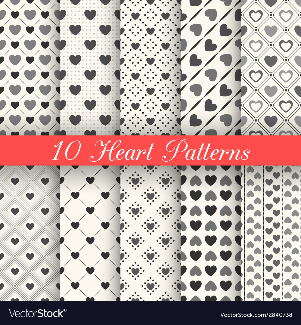 Heart shape seamless patterns Black and white
