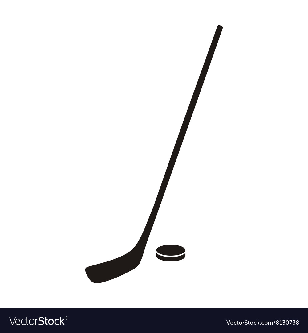 Hockey Stick and Puck Monochrome Icon vector image
