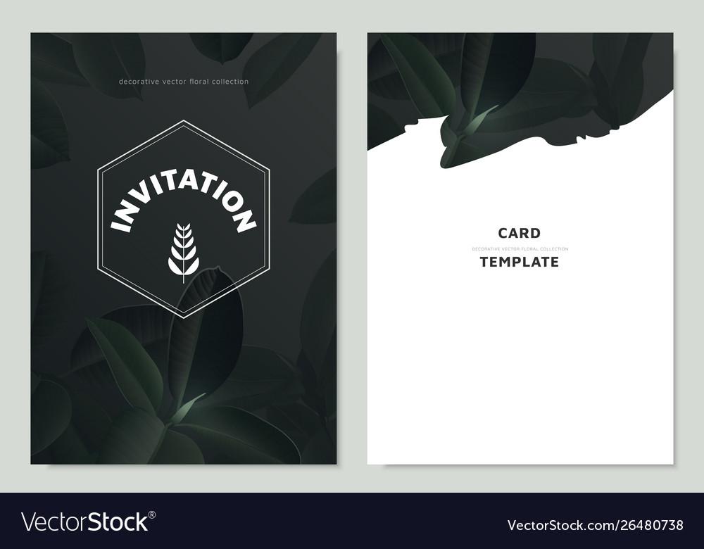 Invitation Card Template Design Dark Green Leaves