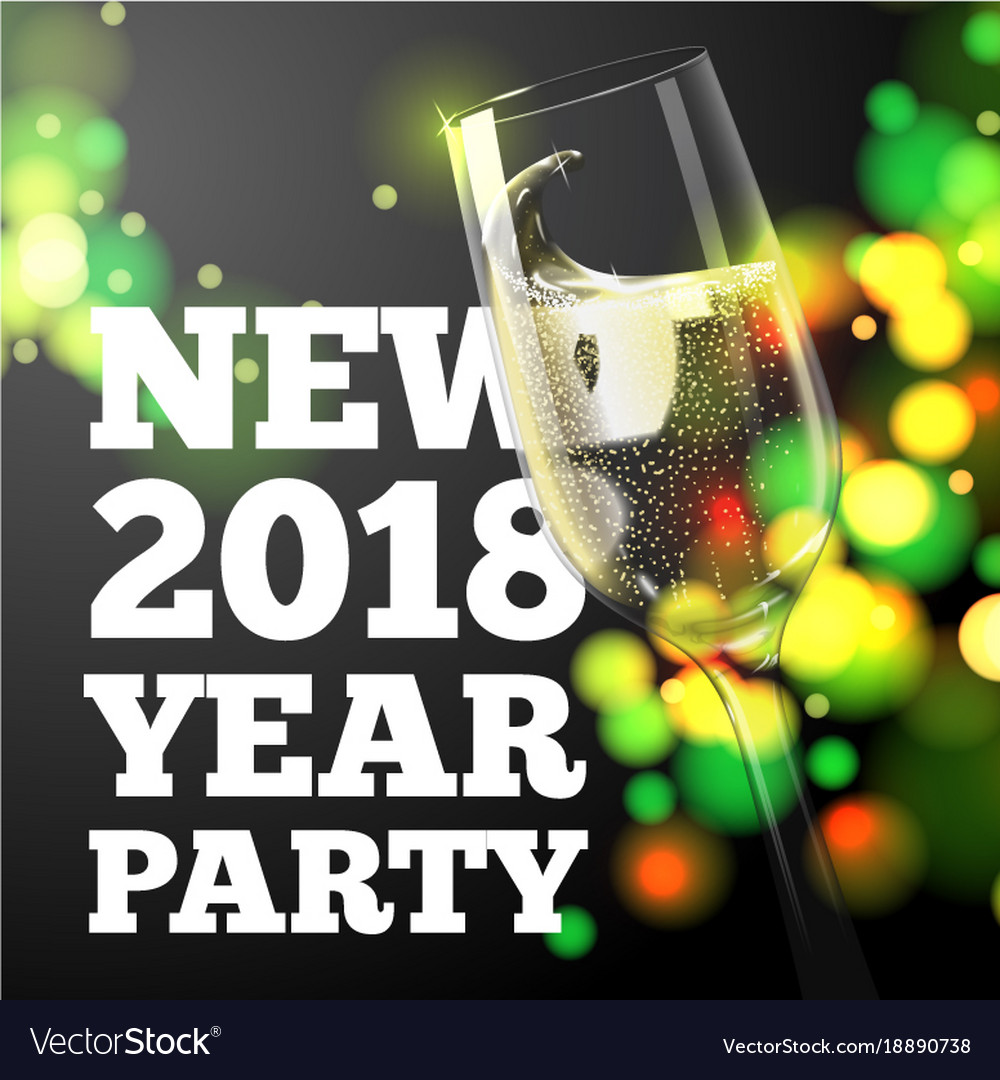 new year banner champagne glass vector image